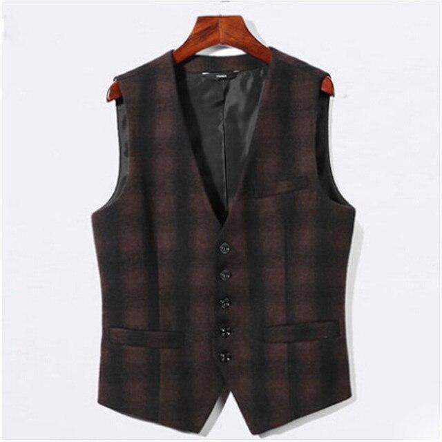 Plaid Men Autumn Blazer Vest V-Neck Vintage Fashion Casual Business Men Suit Vests Slim Fit Men'S Waistcoats A2674