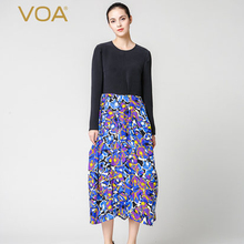 VOA Silk Black Novelty Women Dresses Special Design Comfortable Casual Long Sleeves Print O-Neck Vestidos Ladies A6326