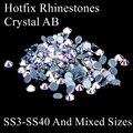 Glitter Crystal AB Piedras Y Cristales Strass Hotfix Hierro En Rhinestones Respaldo Pegamento Perfecto Para Ropa de la Tela DIY Accesorios