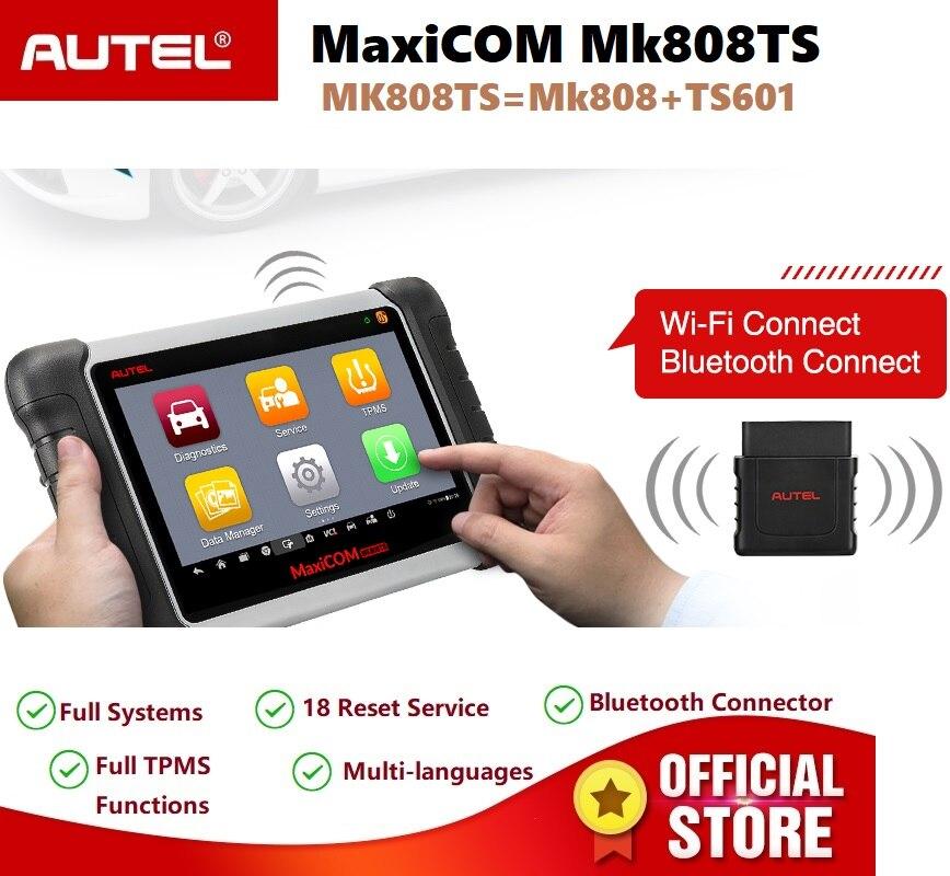 Autel MaxiCOM MK808TS OBD2 Serviço de Ferramenta de Verificação de Diagnóstico Do Carro Scanner de Bluetooth e Sensor de TPMS Programação PK MK808 TS608