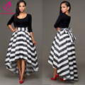 BellFlower 2017 Women Party Dresses Two Pieces Long High wasit Dress Women Stripe Bow Back Sexy Dress Vestidos