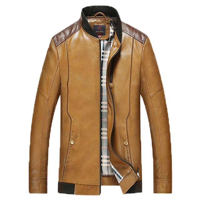 New Listing 2016 Spring and Autumn paragraph sheep skin leather jacket men young men stand collar leather jacket  170