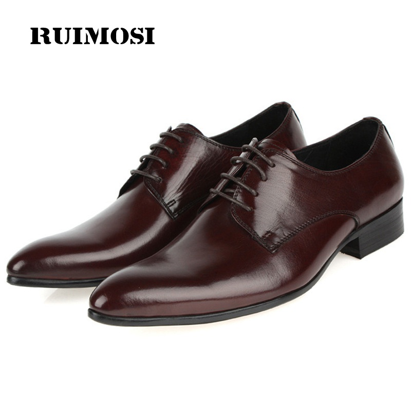 RUIMOSI Classic Italian Designer Man Formal Derby Shoes Genuine Leather Oxfords Pointed Toe Business Men's Bridal Flats VK79