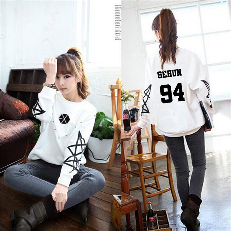 Hoodie kpop kpop exo exo clothing autumn long sleeve white men and Korean women coat clothing couple hooded shirt Outerwears