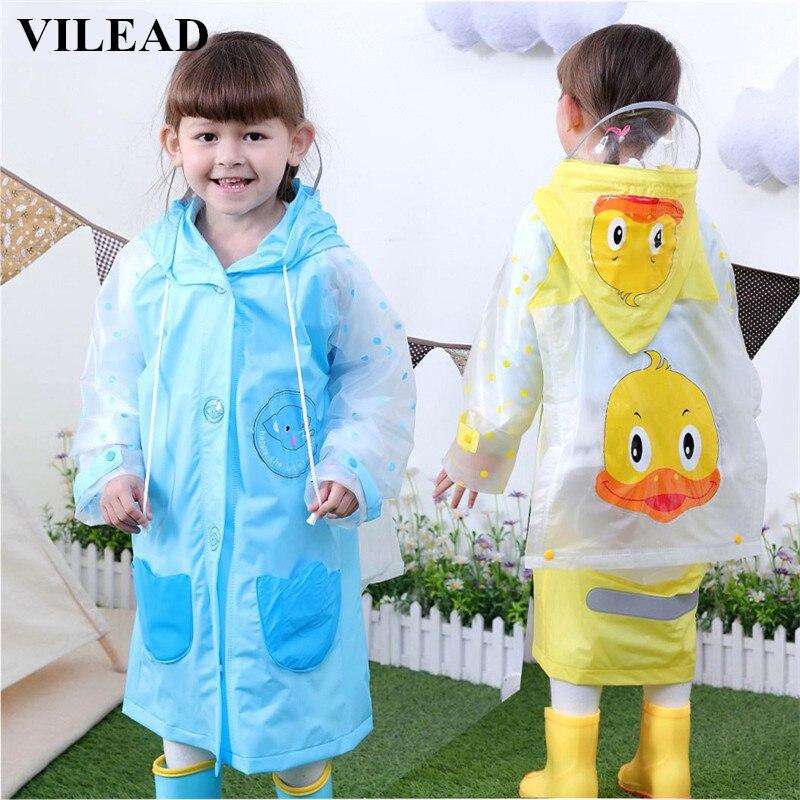 3982005d5611 VILEAD PVC Children Rain Coat Kindergarten Baby Cartoon Waterproof ...