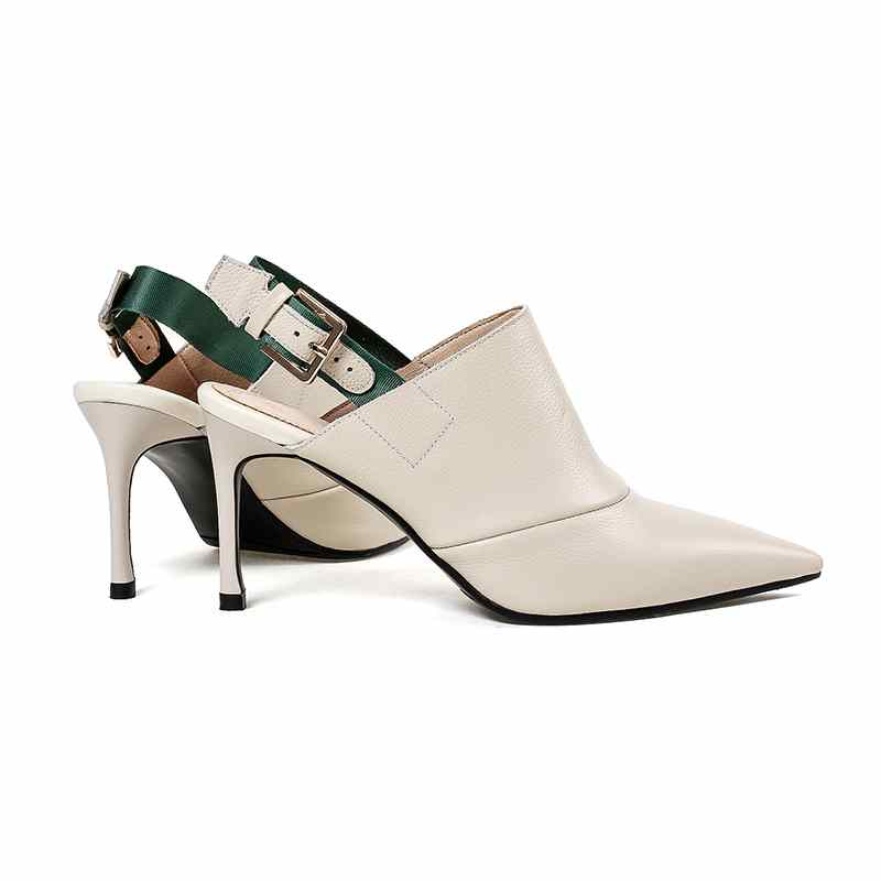 Pointu En Mode Véritable Pompes Solide 2018 Beige Femmes L23 Mules Haut Cuir Peu Bout Profonde Stiletto Lady Office noir Slingback Talon Streetwear 5ztdqdwU