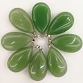 Wholesale natural Green Aventurine stone pendants Charms big water drop pendant for Necklaces jewelry making 10PCS/lot