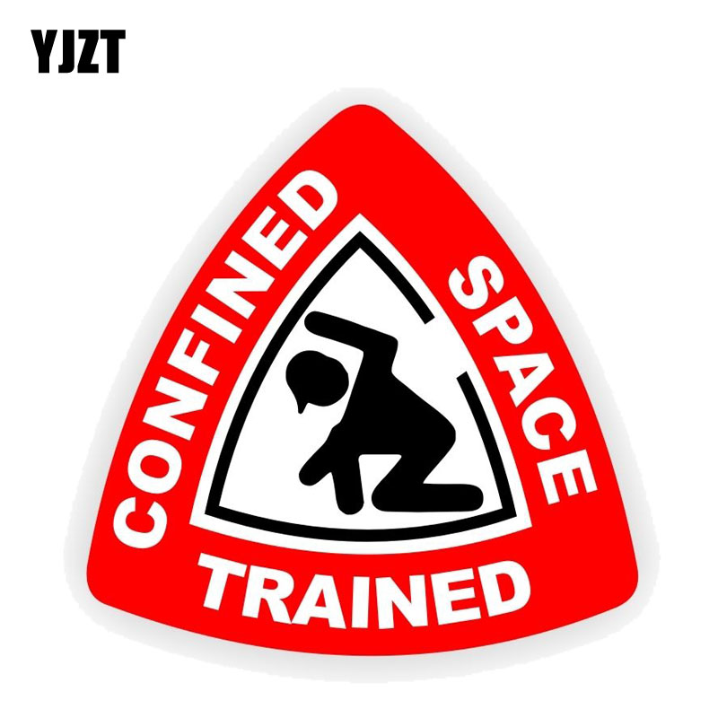 YJZT 12.7CM*12.7CM Car Confined Space Trained Funny Stickers PVC Decal 12-0418