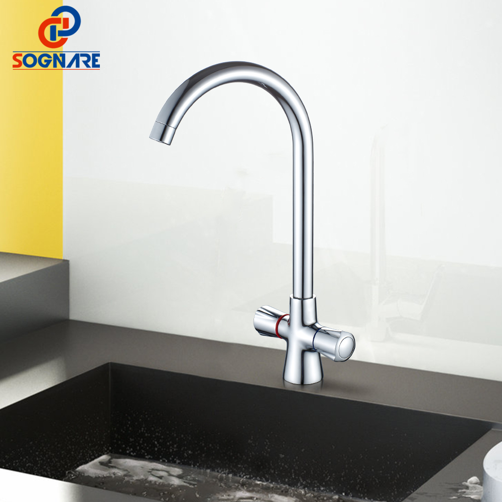 SOGNARE Double Handle Kitchen Fixture Cold Hot Faucet For Kitchen Single Hole Kitchen Faucet Water Fountain Torneira Cozinha new arrival tall bathroom sink faucet mixer cold and hot kitchen tap single hole water tap kitchen faucet torneira cozinha