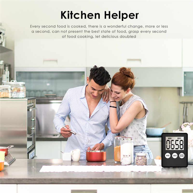 Mignon numérique cuisine minuterie Super mince LCD numérique écran cuisine oeuf minuterie carré cuisson compte à rebours alarme aimant horloge