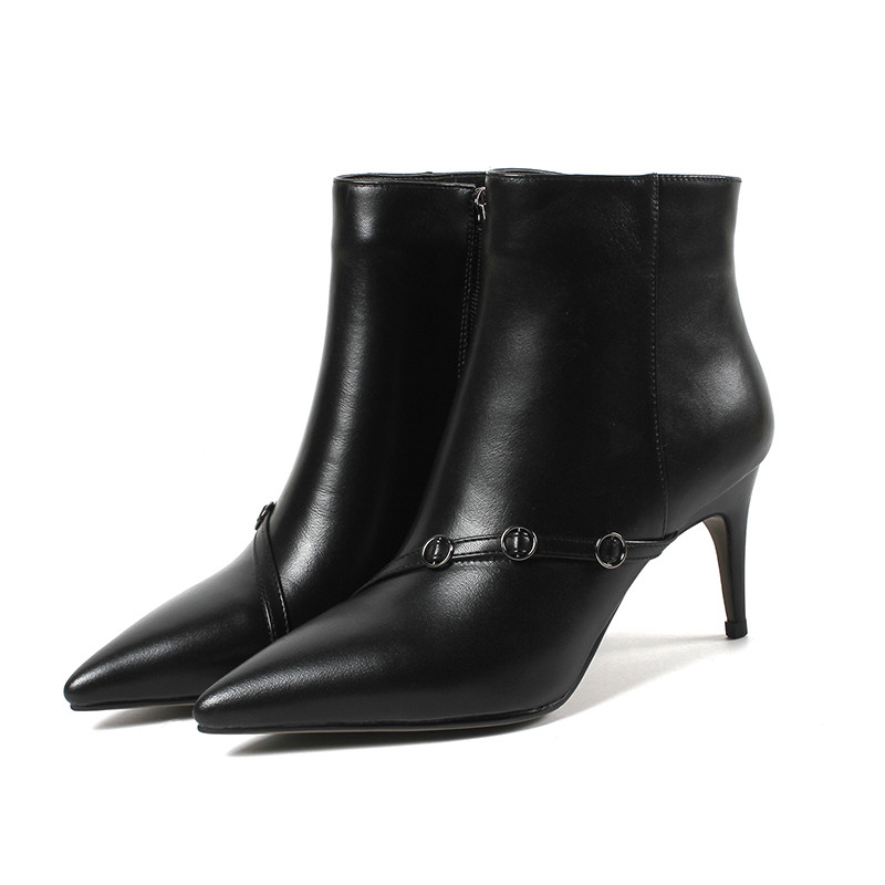 LOVEXSS Woman Autumn Winter Zipper Ankle Boots Fashion Sexy Plus Size 33 43 Martin Boots Black Apricot High Heeled Shoes lovexss woman genuine leather ankle boots autumn winter high heeled shoes fashion plus size 32 43 black work chelsea boots