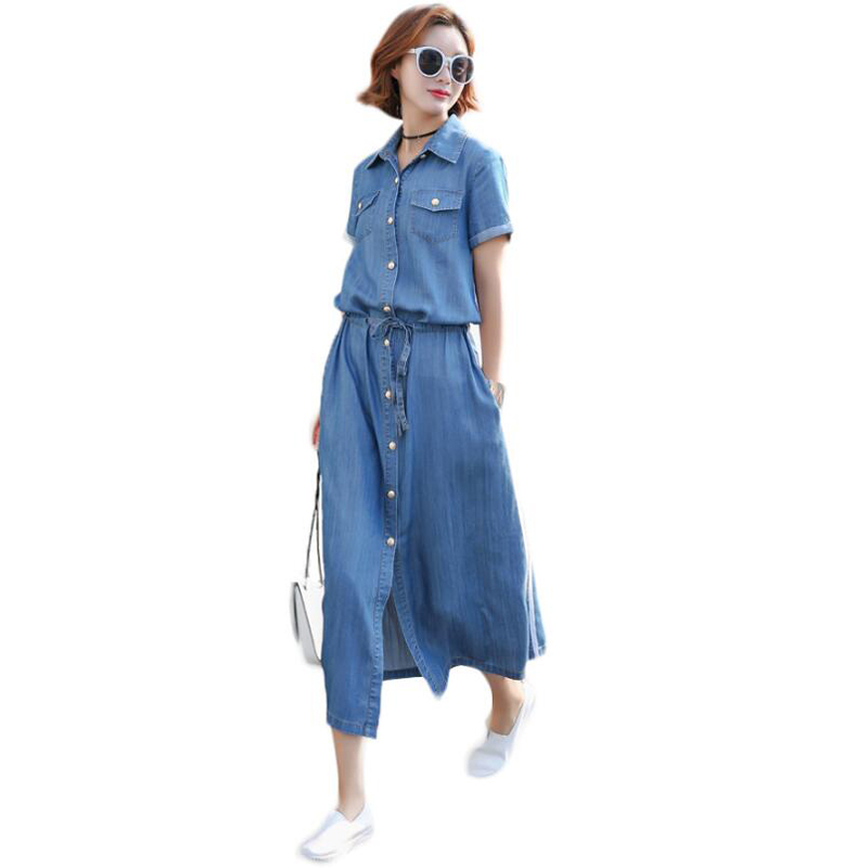 Summer Style Women Denim Dress Women Clothes Short Sleeve Slim Waist Jeans Dresses plus size robe femme Vestidos de festa women s floral embroidery denim shorts 2017 summer fashion hight waist short jeans femme cotton shorts plus size xl e984