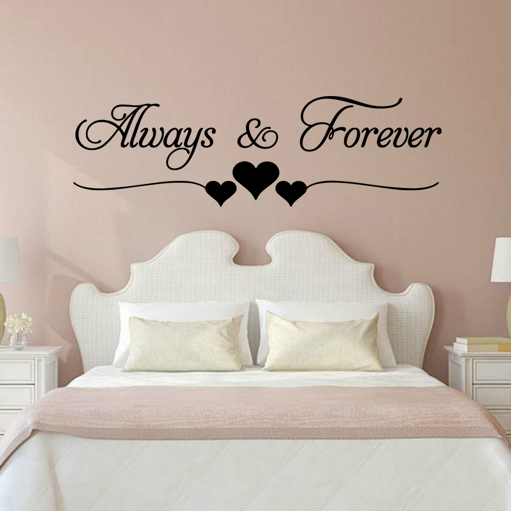 Romantic Love Always Forever INS Wall Stickers For House Bedroom Living Room Decoration Wall Decals Decor Wallsticker Mural