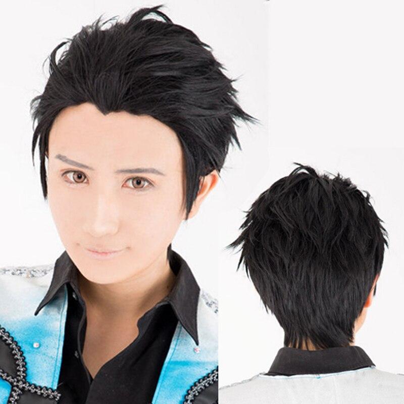 YURI!!! on ICE Katsuki Yuri Black Short Wig Cosplay Pale hair Slicked-back Cosplay Synthetic Hair +Free Wig Cap