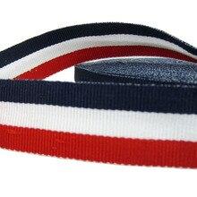 "10yards 1"" Patriotic Red White Navy Blue Stripe Grosgrain Ribbon Flag Ribbons Craft Packaging 25.0mm"