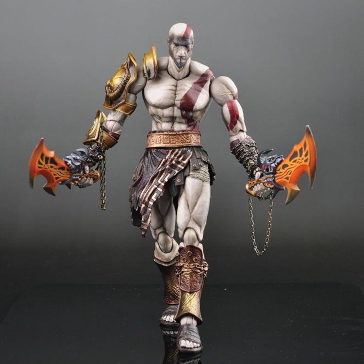 High quality PlayArts Play arts KAI God of War Kratos PA Kai Figure Collectible Model Toy with box loose long sleeve stand up collar leopard print single breasted shirt