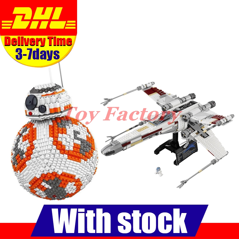 In Stock LELE 35020 Star Wars BB8 Robot +LEPIN 05039 Red Five X-wing Starfighter Model Building Block Bricks Toys Kits Set Gift lepin 22001 pirate ship imperial warships model building block briks toys gift 1717pcs compatible legoed 10210
