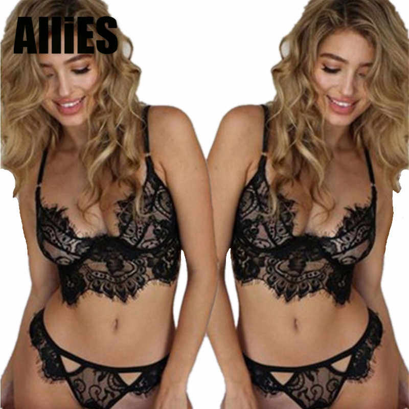 Women Eyelash Lace Sexy Bra Panties Sets Sling Lingerie Push Up Unlined  Brassiere Briefs Suits Intimate f1e597378