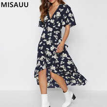Summer Dress 2019 Woman Party Night Sexy V-neck Elegant Bohemian Floral Print Vestido Short Sleeve Ladies Boho