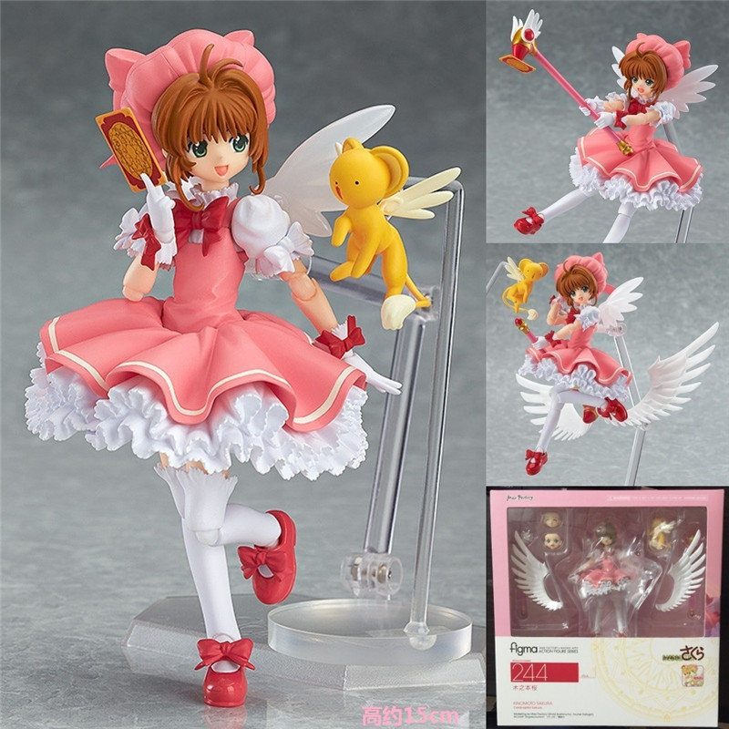 <font><b>Anime</b></font> <font><b>Cardcaptor</b></font> <font><b>Sakura</b></font> Figma 244 Kinomoto <font><b>Sakura</b></font> Juguetes PVC <font><b>Action</b></font> <font><b>Figure</b></font> Brinquedos Collectible <font><b>Model</b></font> Kids <font><b>Toys</b></font> 14cm