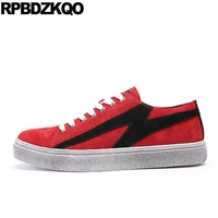 2017 New Men Flats Lace Up Trainers Skate Platform Sneakers Red Casual Spring Comfort Breathable Patchwork