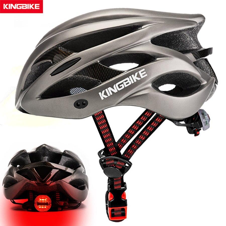 KINGBIKE Casco de ciclista de montaña bicicleta de carretera Casco hombres mujeres Casco de bicicleta MTB con luz trasera Visor Red de insectos Casco de Ciclismo