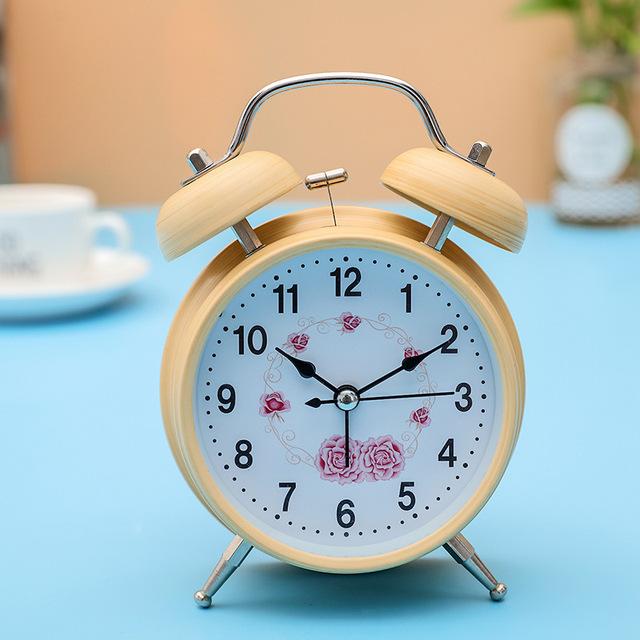 4″ Children Creative Small Mute Silent Round Double Bell Wood Student Alarm Clock Electronic Digital   Table Clock Desktop Clock