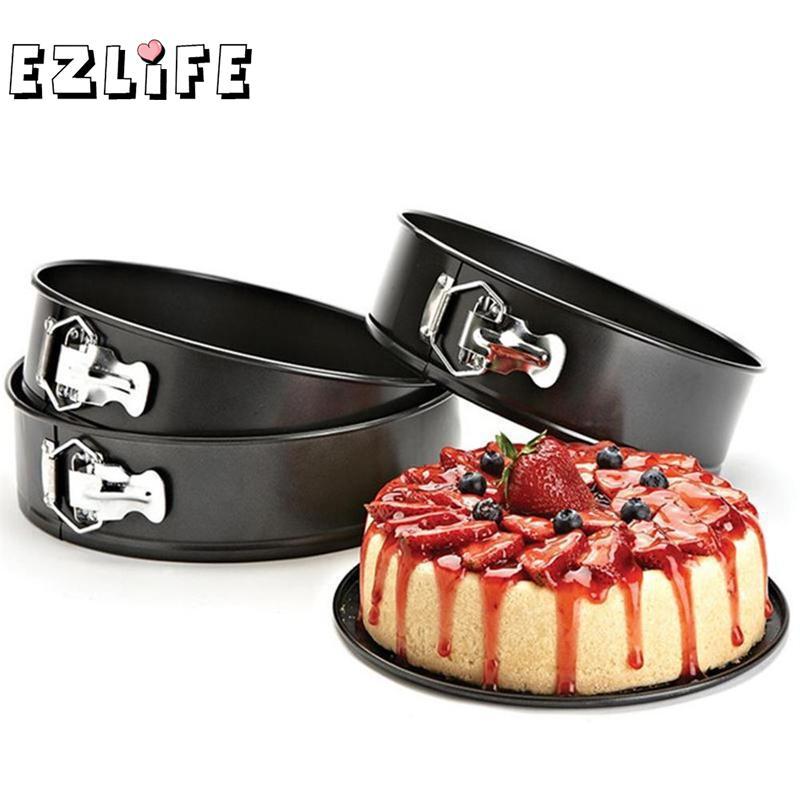 EZLIFE Round Cake Tin Set Non-Stick Spring Form Loose Base Baking Pan Tray Metal Oven Baking Trays Cake Mold Tray Baking Dish