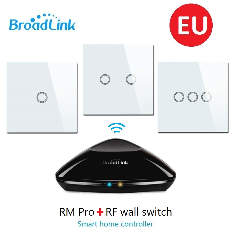Wlansmart EU RF433 Remote wall touch switch control by Android phone IOS Via Broadlink RM PRO WIFI IR RF Universal smart home sonoff touch wall wifi light switch us eu intelligent glass panel smart home wireless remote switch control via by phone