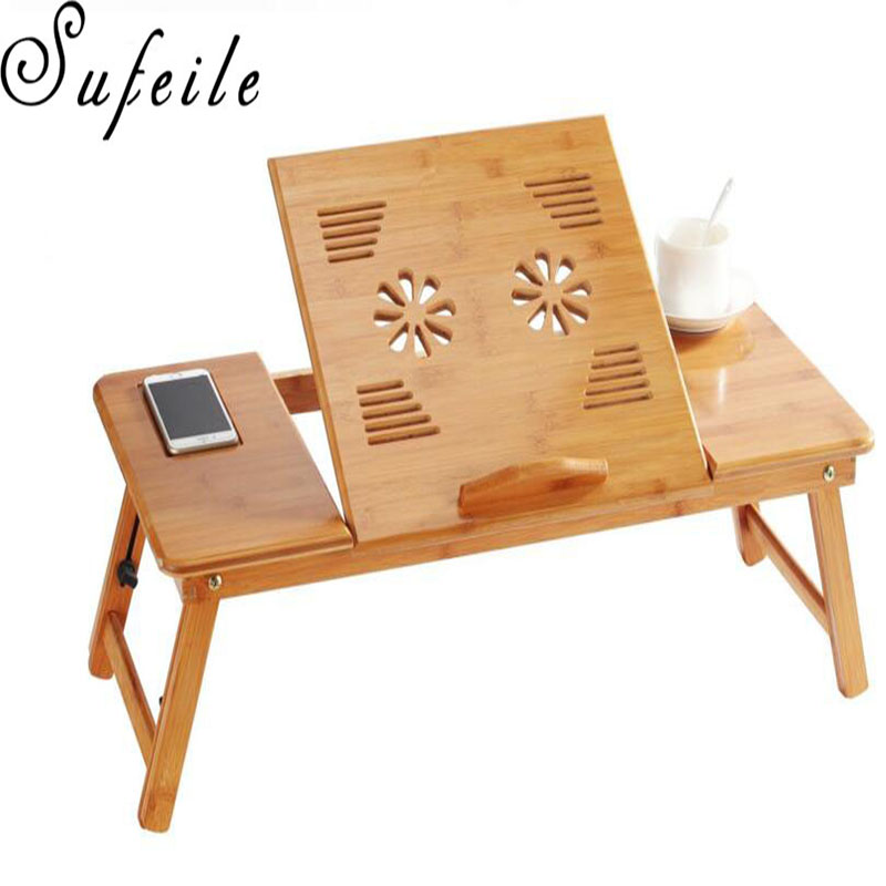 SUFEILE  Portable learning laptop desk Natural Bamboo Laptop Table Desk Adjustable Height Folding Table Computer Desk D5