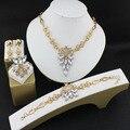 Africano Contas Conjunto de Jóias Colar Jogo Para As Mulheres Belas Brincos de Pingente Banhado A Ouro Pulseiras de Cristal Acessórios Vestido de Noiva