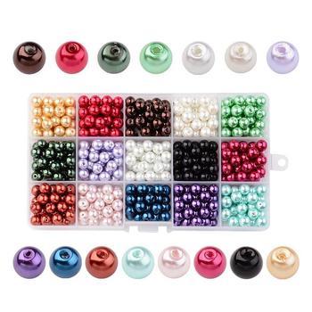 Mieszane kolor okrągły Pearlized szklana perła koraliki do tworzenia biżuterii Diy 4mm, 6mm, 8mm, 10mm,, 15 kolorów/pudełko
