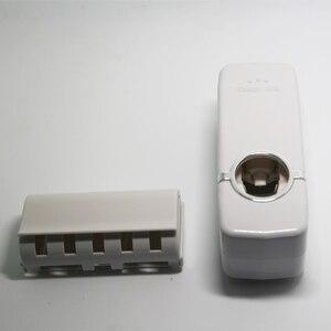 Image 4 - Ucuz banyo otomatik diş macunu dağıtıcı diş macunu sıkacağı duvar macun monte diş fırçası tutucu banyo aksesuarları