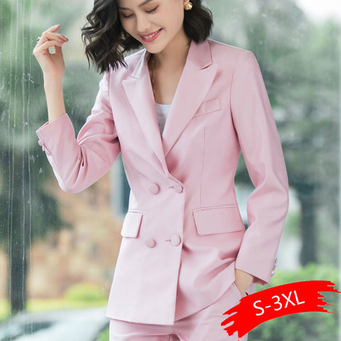 2019 New Office Work Blazer Suits Of High Quality OL Women Pants Suit Blazers Jackets With Trouser Two Pieces Set Red Pink Blue Lahore