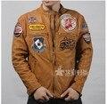 Envío libre de Los Hombres chaqueta de Cuero Genuino, doblado pantorrilla ropa de la motocicleta Delgada. Casual coat Tamaño M-XXXL