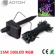 1pc 15M 100 LEDs RGB led solar lights outdoor for garden Holiday decoration waterproof  string solar powered christmas lights