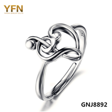 GNJ8892 100% Pure 925 Sterling Silver Jewelry Treble Clef Bass Heart Ring Musical Note Jewelry Fashion Rings For Women