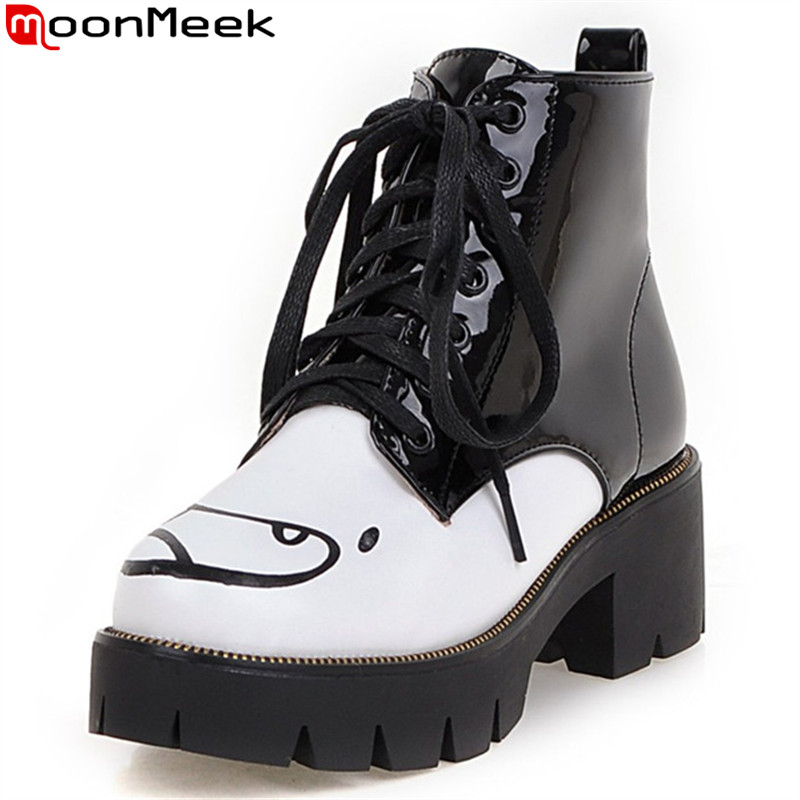 MoonMeek lace up black autumn winter new arrive women boots square heel platform ankle boots print