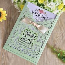 30pcs/lot New Laser Cut Hollow Pearl Paper Wedding Invitations Withribbon Bow Business Birthday Party Invitation Cards