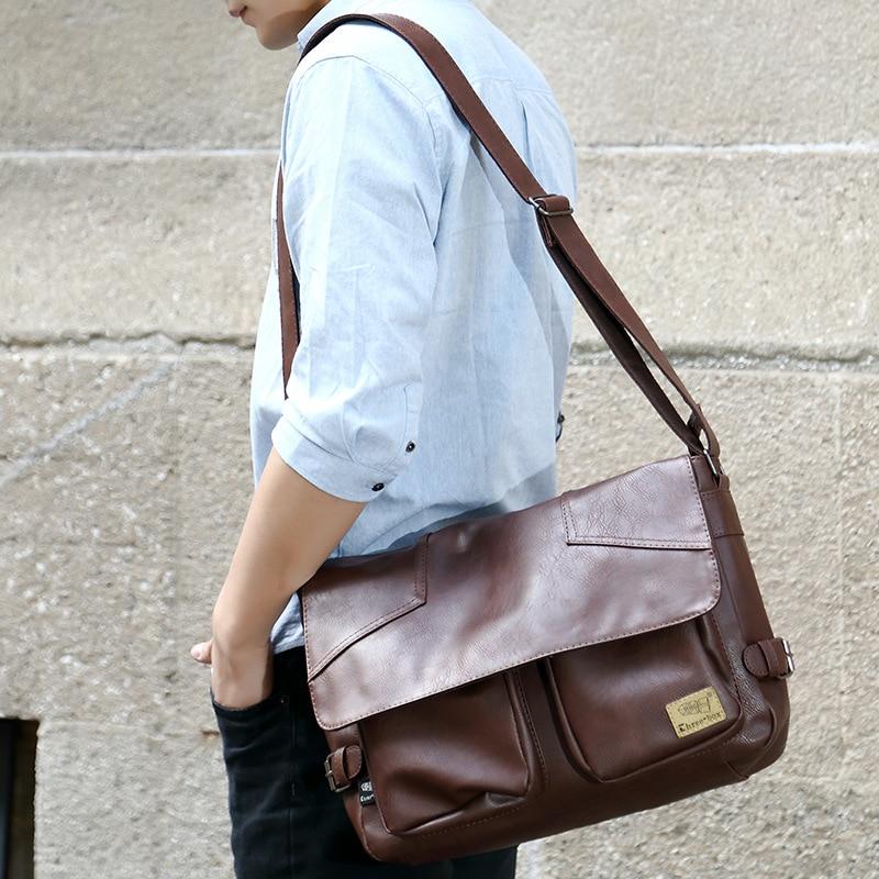 Three-box Brand Men Leather Casual Large Capacity Messenger Bag Man Vintage Crossbody Shoulder Bag Busines Travel Bags Bolsas 4