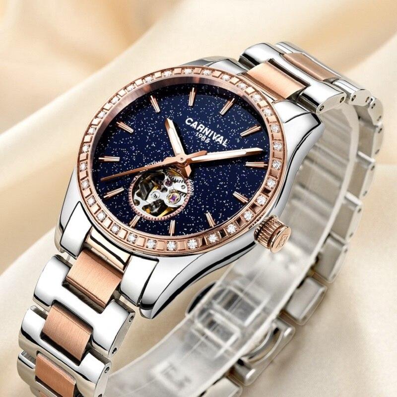 Montre femme 2018 relojes mecánicos de lujo mujer Tourbillon carnaval reloj automático mujeres diamantes círculo luminoso impermeable-in Relojes de mujer from Relojes de pulsera    3