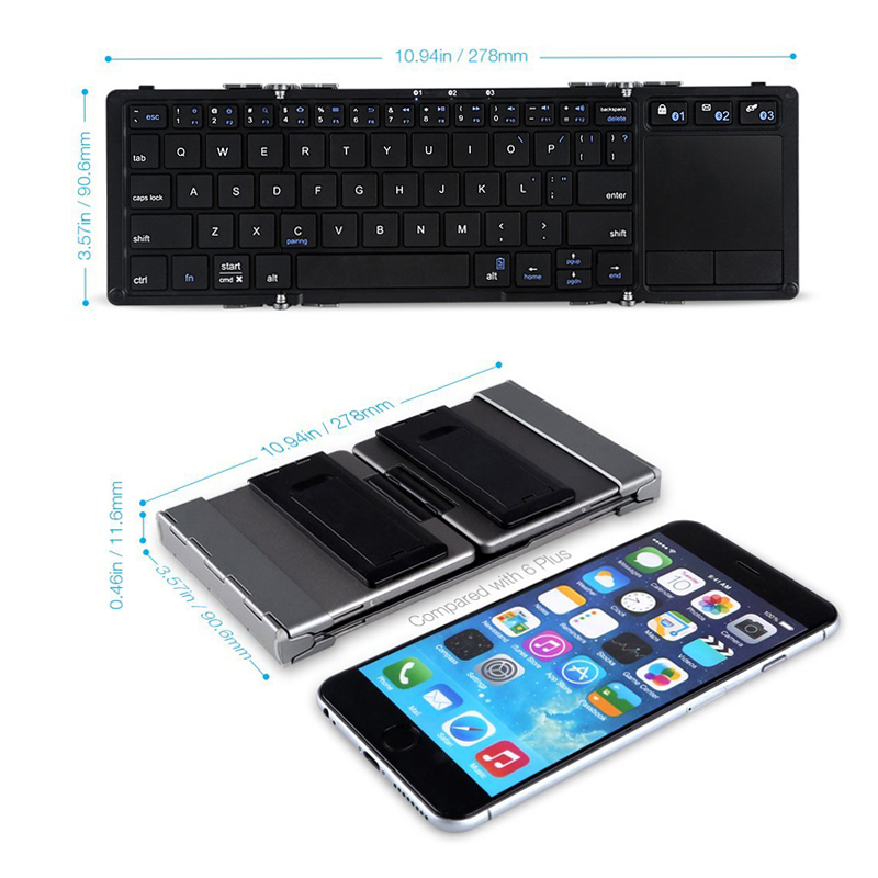 Portable Universal Folding Keyboard With Touchpad And Stand Bluetooth Wireless 3 0 Keyboards For Tablet SmartPhone Desktop PC in Keyboards from Computer Office