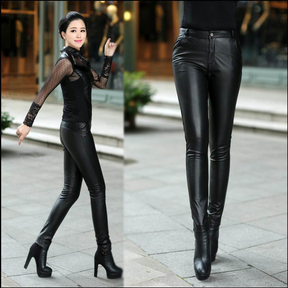 2018 Autumn And Winter Women Genuine leather pants female trousers tight sheepskin genuine leather skinny pants pencil pants