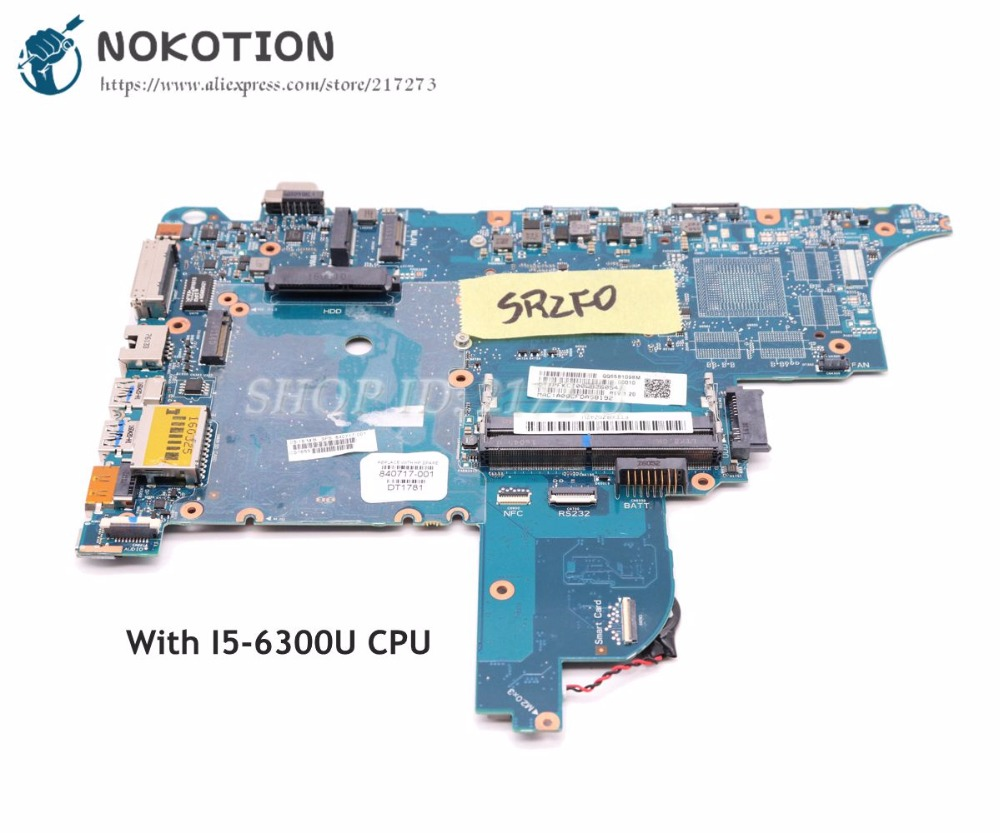 NOKOTION 840717-001 For HP Probook 640 <font><b>650</b></font> G2 Laptop Mothebroard CIRCUS-6050A2723701-MB-A02 SR2F0 <font><b>I5</b></font>-6300U CPU UMA HD image