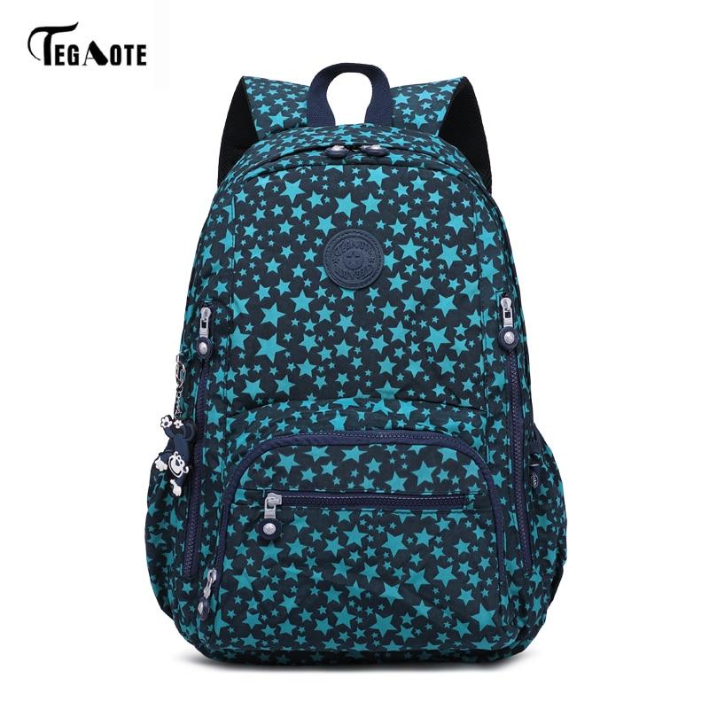 TEGAOTE Girls School Bags Women Printing Backpack For Teenage Girls Shoulder Travel Bags Nylon Waterproof Laptop Bagpack Bolsos fashion school bags for teenage girls bags for women 2018 women backpack travel backpack straw weaved bagpack ladis shoulder bag