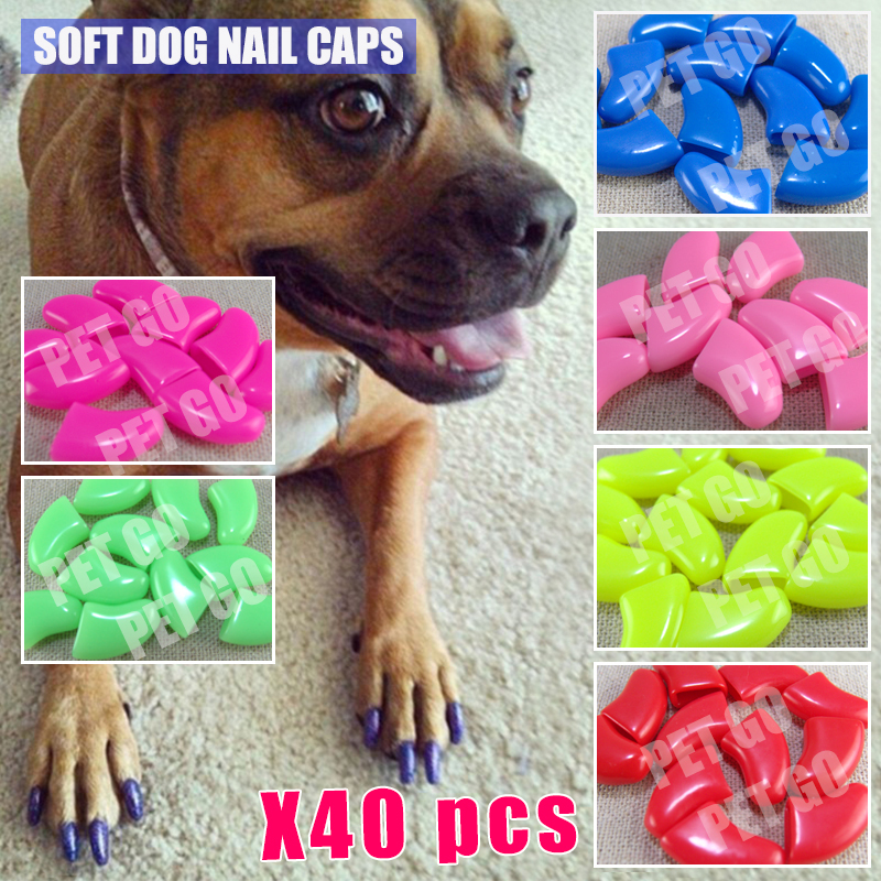 40pcs/lot Soft cat Pet Nail Caps For Dogs Claws Paws with Adhesive ...