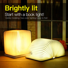Portable USB Rechargeable LED Magnetic Foldable Wooden Book Lamp Night Light Desk Hot Sale for Home Decor Drop Ship