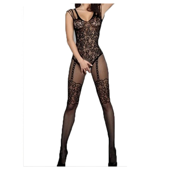 Floral Motif Mesh Body Stockings