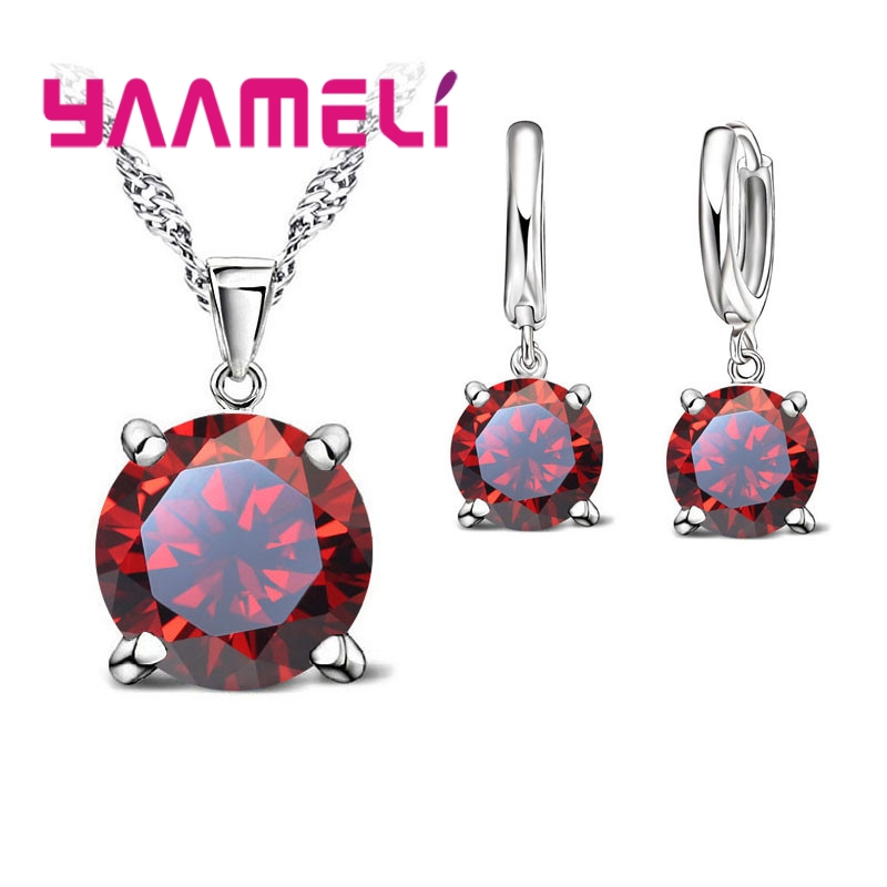Big Discount Women Fashion Jewelry Sets 925 Serling Silver Crystal Necklace Pendant Earring Free Shipping