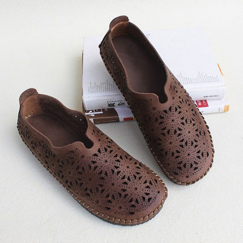 Women s Shoes Slip on Ladies Flat Shoes Hollow Out Female Summer Footwear 100 Genuine Leather